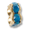 Swarovski Rondelle Square Bead 8mm Caribbean Blue Opal Gold Plated (1-Pc)