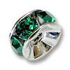 Swarovski Rondelle Bead 4mm Emerald Rhodium Plated (1-Pc)