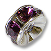 Swarovski Rondelle Bead 6mm Amethyst Sterling Plated (1-Pc)