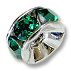 Swarovski Rondelle Bead 6mm Emerald Rhodium Plated (1-Pc)