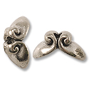 11x5.5mm Antique Silver Plated Volute Top Pewter Bead Cap (1-Pc)