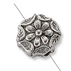 Bead Rosette 9mm Pewter Silver Plated (1-Pc)
