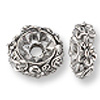Bead Flower Spacer 8x3mm Pewter Silver Plated (1-Pc)