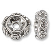 Bead Swirls Spacer 8x3mm Pewter Silver Plated (1-Pc)