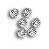 Corrugated Bead 3mm Round Silver Plated (10-Pcs)