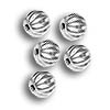 Corrugated Bead 4mm Round Silver Plated (10-Pcs)