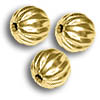 Corrugated Bead 6mm Round Gold Plated (10-Pcs)