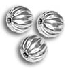 Corrugated Bead 6mm Round Silver Plated (10-Pcs)