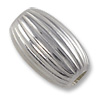 Oval Beads Corrugated 7x4mm Sterling Silver (-Pc)