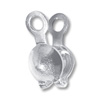 Clam Shell Bead Tip 3.5mm Cup with Double Loop Sterling Silver (2-Pcs)