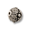 TierraCast 8mm Pewter Bead Antique Silver with Flat Spirals (1-Pc)