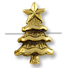 Bead Christmas Tree 14x9mm Pewter Antique Gold Plated (1-Pc)