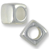 Large Hole Bead Square 7x7mm Plastic Sterling Silver Plated (10-Pcs)
