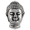 TierraCast Bead Buddha Head 13x9mm Pewter Antique Silver Plated (1-Pc)