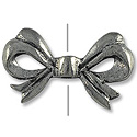 Bead Bow 20x12mm Pewter Antique Silver Plated (1-Pc)
