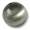 22mm Brushed Metal Satin Sterling Silver Plated Round Bead (1-Pc)