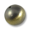 20mm Brushed Metal Satin Brass Plated Round Bead (1-Pc)
