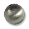 20mm Brushed Metal Satin Sterling Silver Plated Round Bead (1-Pc)