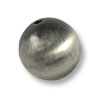 18mm Brushed Metal Satin Sterling Silver Plated Round Bead (1-Pc)