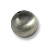 16mm Brushed Metal Satin Sterling Silver Plated Round Bead (1-Pc)