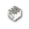 Ribbed Large Hole Cube Bead 4mm Silver Plated (4-Pcs)