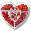 Bead Kit Heart Assorted Reds (1-Pc)