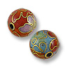 Handmade Cloisonne Bead 8mm Round Multicolor (1-Pc)