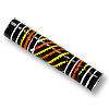Terra Cotta Bead 8x45mm Tube Black/Orange/Yellow (2-Pcs)