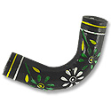 Terra Cotta Bead 10x45mm Curved Tube Black w Green&White Flower(1-Pc)