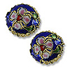 Machine Made Cloisonne Bead 12mm Round Pillow Dark Blue (1-Pc)