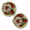 Machine Made Cloisonne Bead 12mm Round Pillow Red (1-Pc)