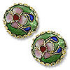 Machine Made Cloisonne Bead 12mm Round Pillow Green (1-Pc)