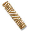 Terra Cotta Bead 9x40mm Tube Tan/White (2-Pcs)