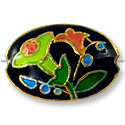 Handmade Cloisonne Puffed Oval Bead 20x14mm Black/Green Lily (1-Pc)