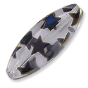 Czech Navette Bead 9x25mm Crystal Peacock Effect with Stars (1-Pc)
