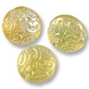 Czech Pressed Glass Button Bead 13mm Light Topaz AB (30-Pcs)