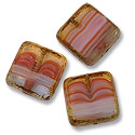 Czech Glass Flat Square 16mm Sunset Bead Reds (1-Pc)