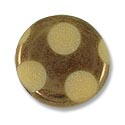 Czech Glass Flat Round 15mm Bronze with Dots (1-Pc)