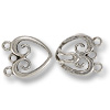 Hook & Eye Clasp - 3-Strand Heart 32mm Pewter Silver Plated (Set)