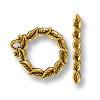 Toggle Clasp - Leaf 18mm Pewter Antique Gold Plated (Set)