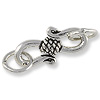 S Clasp with Rope Sterling Silver w/ Jump Rings17x8mm (1-Pc)