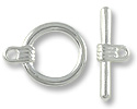 Clasp - Toggle 16mm Base Metal Silver Plated (1-Pc)