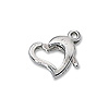 Heart Clasp 11x8mm Sterling Silver (1-Pc)