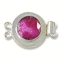Designer Clasp 2 Strand Faceted Dyed Ruby Sterling Silver Filled (1-Pc)