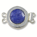 Designer Clasp 2 Strand Faceted Dyed Sapphire Sterling Silver Filled (1-Pc)