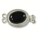 Designer Clasp 2 Strand Oval Black Stone Sterling Silver Filled (1-Pc)