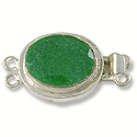 Designer Clasp 2 Strand Oval Dyed Emerald Sterling Silver Filled (1-Pc)