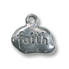 Charm - Faith 8x12mm Pewter Antique Silver Plated (1-Pc)