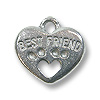 Charm - Best Friend 13x15mm Pewter Antique Silver Plated (1-Pc)