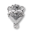Sacred Heart Rosary Centerpiece 15x12mm Pewter Antique Silver Plated  (1-Pc)